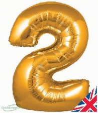 34 INCH FOIL GOLD NUMBER BALLOON 2