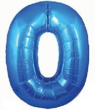34 INCH FOIL BLUE NUMBER BALLOON 0