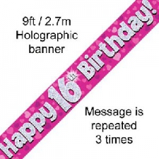 BANNER SMALL HAPPY 16TH BIRTHDAY PINK