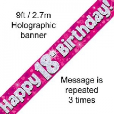 BANNER SMALL HAPPY 18TH BIRTHDAY PINK