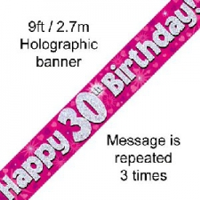 BANNER SMALL HAPPY 30TH BIRTHDAY PINK