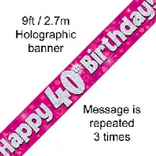 BANNER SMALL HAPPY 40TH BIRTHDAY PINK