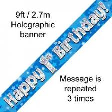 BANNER SMALL HAPPY 1ST BIRTHDAY BLUE
