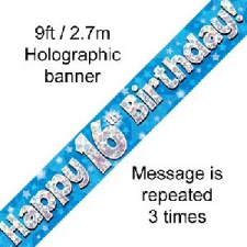 BANNER SMALL HAPPY 16TH BIRTHDAY BLUE