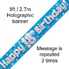 BANNER SMALL HAPPY 18TH BIRTHDAY BLUE