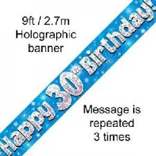 BANNER SMALL HAPPY 30TH BIRTHDAY BLUE