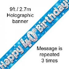 BANNER SMALL HAPPY 40TH BIRTHDAY BLUE