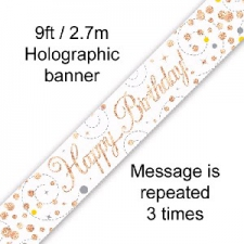 BANNER SMALL SPARKLING FIZZ ROSE GOLD HAPPY BIRTHD