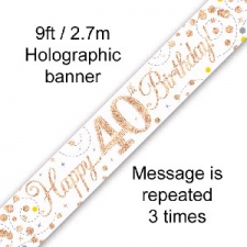 BANNER SMALL SPARKLING FIZZ ROSE GOLD HAPPY 40TH B