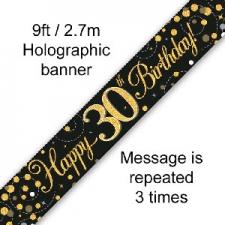 BANNER SMALL SPARKLING FIZZ BLACK HAPPY 30TH BIRTH