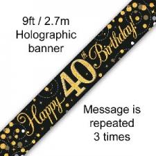 BANNER SMALL SPARKLING FIZZ BLACK HAPPY 40TH BIRTH