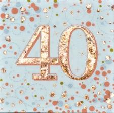 SPARKLING FIZZ ROSE GOLD SERVIETTES 40th 16s