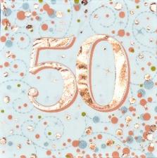 SPARKLING FIZZ ROSE GOLD SERVIETTES 50th 16s