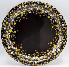 SPARKLING FIZZ BLACK PLATES 8s 23cm