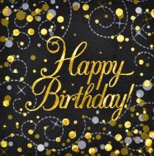 SPARKLING FIZZ BLACK & GOLD SERVIETTES BIRTHDAY 16