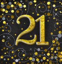 SPARKLING FIZZ BLACK & GOLD SERVIETTES 21st 16s