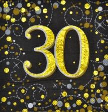 SPARKLING FIZZ BLACK & GOLD SERVIETTES 30th 16s