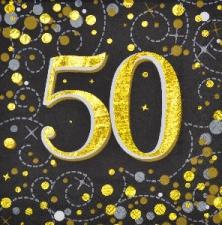 SPARKLING FIZZ BLACK & GOLD SERVIETTES 50th 16s
