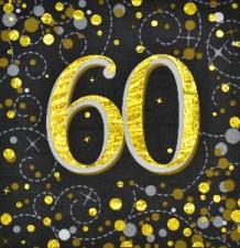 SPARKLING FIZZ BLACK & GOLD SERVIETTES 60th 16s