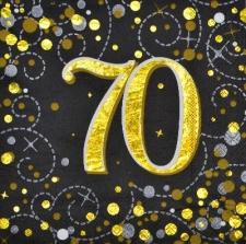 SPARKLING FIZZ BLACK & GOLD SERVIETTES 70th 16s
