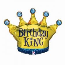 36 INCH FOIL BIRTHDAY CROWN BALLOON KING