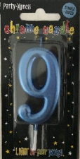 CANDLES CHROME BLUE NUMBER 9