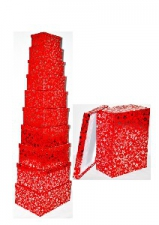 GIFT BOXES 10S RED WITH SILVER FOIL STAR