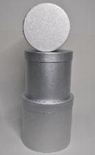GIFT BOX METALLIC ROUND SILVER