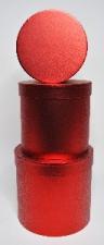 GIFT BOX METALLIC ROUND RED