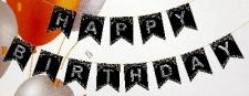 BANNER HAPPY BIRTHDAY SILVER ON BLACK