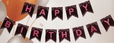 BANNER HAPPY BIRTHDAY PINK ON BLACK