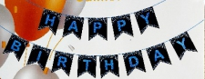 BANNER HAPPY BIRTHDAY BLUE ON BLACK