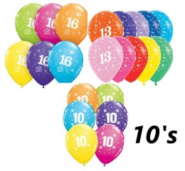 AGE SPECIFIC BIRTHDAY BALLOONS 10'S