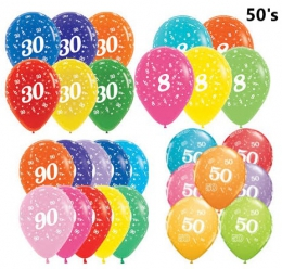AGE SPECIFIC BIRTHDAY BALLOONS 50'S
